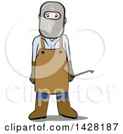 Clipart Of A Male Welder In Safety Gear Royalty Free Vector Illustration