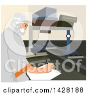 Clipart Of A Factory Worker Taking Quality Notes Royalty Free Vector Illustration