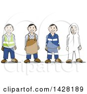 Clipart Of A Group Of Workers Wearing Safety Gear Royalty Free Vector Illustration