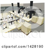 Clipart Of A Team Of Workers In A Production Factory Royalty Free Vector Illustration