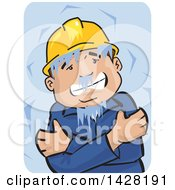 Clipart Of A Freezing And Shivering Male Worker Wearing A Hard Hat And Hugging Himself Over Blue Royalty Free Vector Illustration