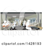 Clipart Of A Team Of Uniformed Workers In A Factory Royalty Free Vector Illustration