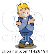 Clipart Of A Cold And Shivering Male Worker Wearing A Hard Hat And Hugging Himself Royalty Free Vector Illustration