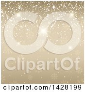 Clipart Of A Gold Snowflake And Sparkle Christmas Background Royalty Free Vector Illustration
