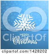 Clipart Of A White Snowflake And Merry Christmas Greeting Over Stars And Snowflakes On Blue Royalty Free Vector Illustration