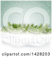 Clipart Of A Christmas Background With Fir Tree Branches And Snow Royalty Free Vector Illustration