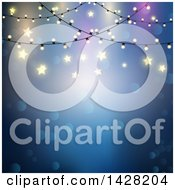 Clipart Of A Blue Background With Bokeh Flares Stars And String Lights Over Text Space Royalty Free Vector Illustration