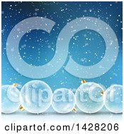Clipart Of A Background Of 3d Transparent Glass Christmas Bauble Ornaments Over Blue With Falling Snow Royalty Free Vector Illustration