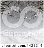 Clipart Of A 3d Hilly Winter Landscape With Bare Tree Branches In A Snow Storm Royalty Free Illustration