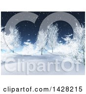 3d Hilly Winter Landscape With Snow Fall And Trees