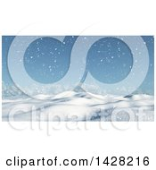 Clipart Of A 3d Hilly Winter Landscape With Snow Fall And Trees Royalty Free Illustration