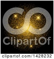 Clipart Of A Background Of Sparkles And Gold Confetti On Black Royalty Free Vector Illustration