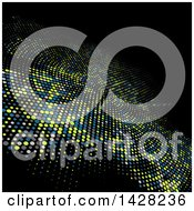 Clipart Of A Techno Background With Halftone Dots On Black Royalty Free Vector Illustration