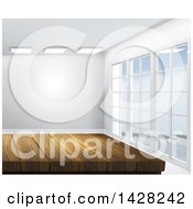 Clipart Of A 3d Wooden Counter Or Table In An Empty Room Royalty Free Illustration