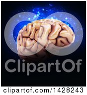 Clipart Of A 3d Human Brain Over Blue Lights On Black Royalty Free Illustration by KJ Pargeter