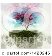 Clipart Of A 3d Grungy Maple Tree In A Grassy Landscape Royalty Free Illustration