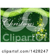 Clipart Of A Merry Christmas And A Happy New Year Greeting With Stars Tinsel And A Star Tree On Green Royalty Free Vector Illustration by dero
