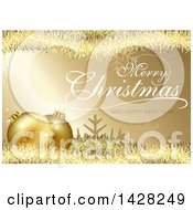 Clipart Of A Merry Christmas And A Happy New Year Greeting Over 3d Golden Snowflake Christmas Baubles Tinsel Snowflakes And Stripes Over Gold Royalty Free Vector Illustration by dero