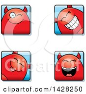 Clipart Of Winking Devil Faces Royalty Free Vector Illustration