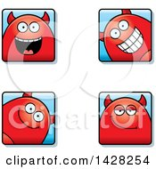 Clipart Of Happy Devil Faces Royalty Free Vector Illustration