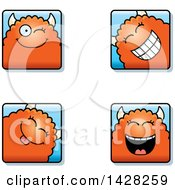 Clipart Of Winking Monster Faces Royalty Free Vector Illustration