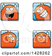 Clipart Of Happy Monster Faces Royalty Free Vector Illustration