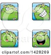 Clipart Of Winking Shrub Monster Faces Royalty Free Vector Illustration