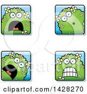 Clipart Of Scared Shrub Monster Faces Royalty Free Vector Illustration