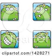 Clipart Of Shrub Monster Faces Royalty Free Vector Illustration