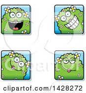 Clipart Of Happy Female Shrub Monster Faces Royalty Free Vector Illustration