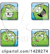 Clipart Of Goofy Shrub Monster Faces Royalty Free Vector Illustration