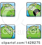 Clipart Of Calm Shrub Monster Faces Royalty Free Vector Illustration