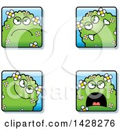Clipart Of Mad Shrub Monster Faces Royalty Free Vector Illustration