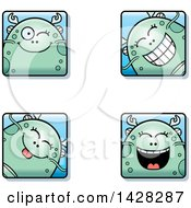 Clipart Of Winking Fish Monster Faces Royalty Free Vector Illustration