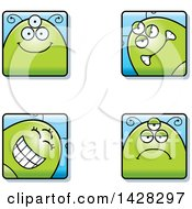 Clipart Of Four Alien Faces Royalty Free Vector Illustration