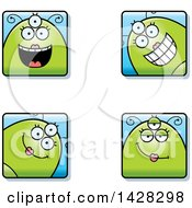 Clipart Of Four Happy Female Alien Faces Royalty Free Vector Illustration by Cory Thoman