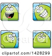 Clipart Of Four Happy Alien Faces Royalty Free Vector Illustration