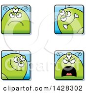 Clipart Of Four Mad Alien Faces Royalty Free Vector Illustration
