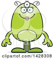Clipart Of A Cartoon Happy Green Female Alien Royalty Free Vector Illustration by Cory Thoman