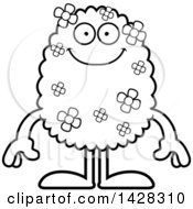 Clipart Of A Cartoon Black And White Lineart Happy Shrub Monster Royalty Free Vector Illustration