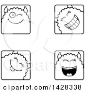Clipart Of Black And White Lineart Winking Monster Faces Royalty Free Vector Illustration