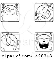 Clipart Of Black And White Lineart Winking Fish Monster Faces Royalty Free Vector Illustration
