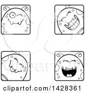 Clipart Of Black And White Lineart Winking Fly Faces Royalty Free Vector Illustration