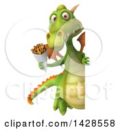 Clipart Of A 3d Green Dragon On A White Background Royalty Free Vector Illustration