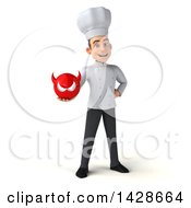 Clipart Of A 3d Young White Male Chef On A White Background Royalty Free Illustration