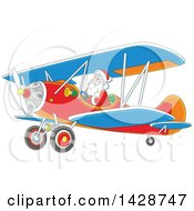 Cartoon Christmas Santa Claus Flying A Biplane