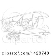 Clipart Of A Cartoon Black And White Lineart Christmas Santa Claus Flying A Biplane Royalty Free Vector Illustration