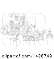 Clipart Of Black And White Lineart Reindeer Waiting As Santa Claus Loads His Sleigh With Christmas Gifts In Front Of His Home Royalty Free Vector Illustration