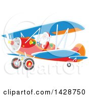 Clipart Of A Christmas Santa Flying A Biplane Royalty Free Vector Illustration