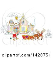 Clipart Of Two Reindeer Waiting As Santa Claus Loads His Sleigh With Christmas Gifts In Front Of His Home Royalty Free Vector Illustration by Alex Bannykh
